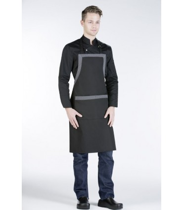 Barista Long Apron with Striped Details and Pockets
