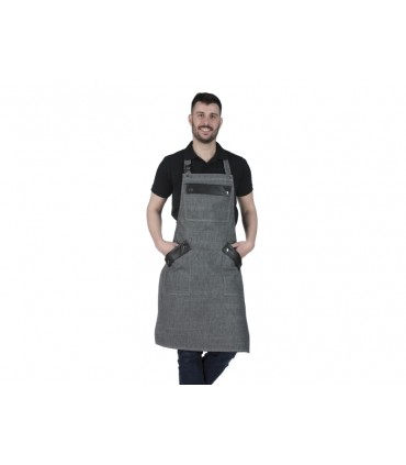 Barista Denim Long Apron with Black Leather Details