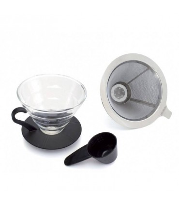 Yama TGD-4 Glass Coffee Dripper with Stainless Steel Filter
