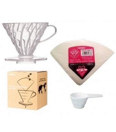 Hario V60 02 Clear Coffee Dripper With Filters